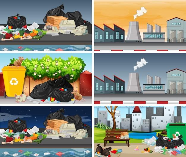 Set of polluted scenes Premium Vector