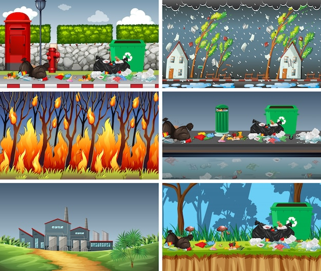Set of polluted scenes Free Vector