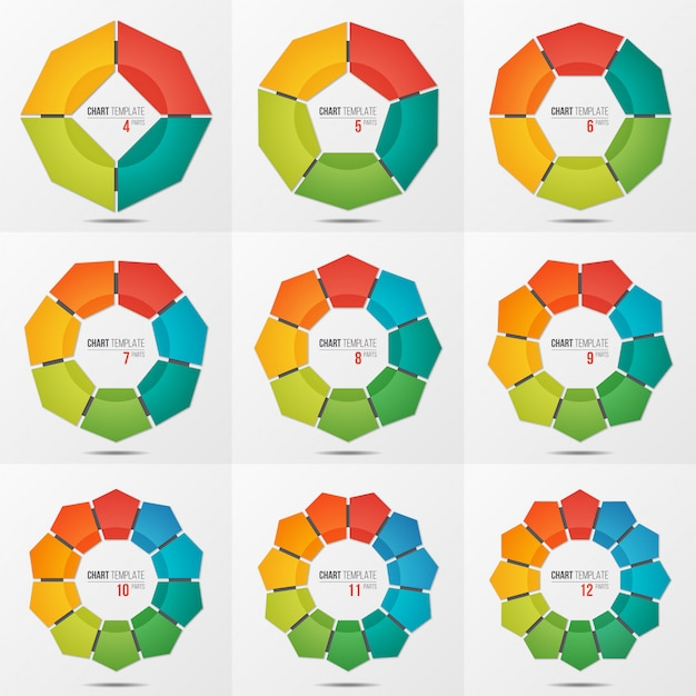 Set of polygonal circle chart templates with 4-12 parts Premium Vector