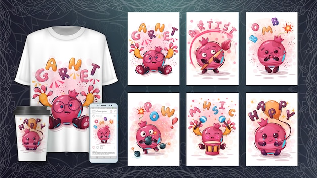 Set melograno - poster e merchandising Vettore gratuito