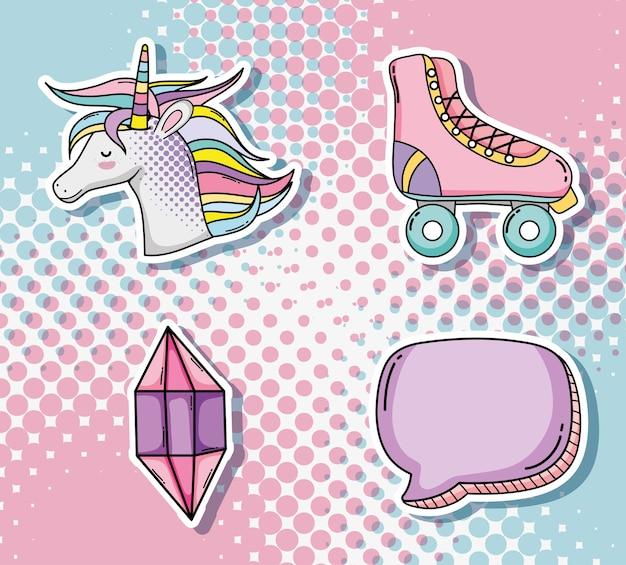 Set of pop art cartoons icons Premium Vector