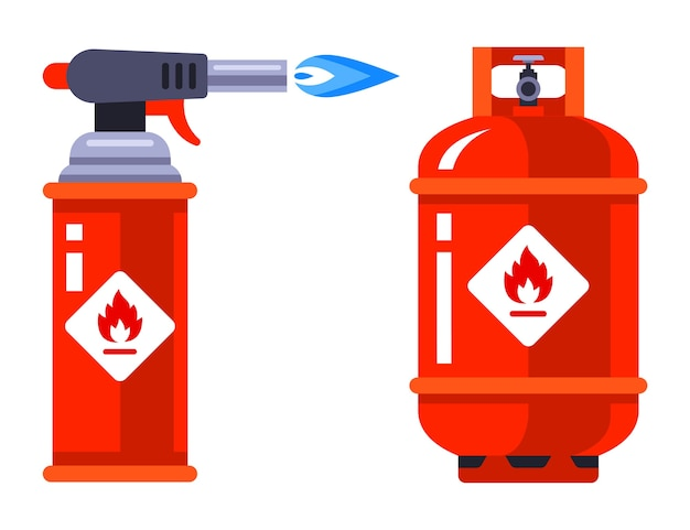Set of portable gas burner and gas cylinder on a white background.   illustration. Premium Vector