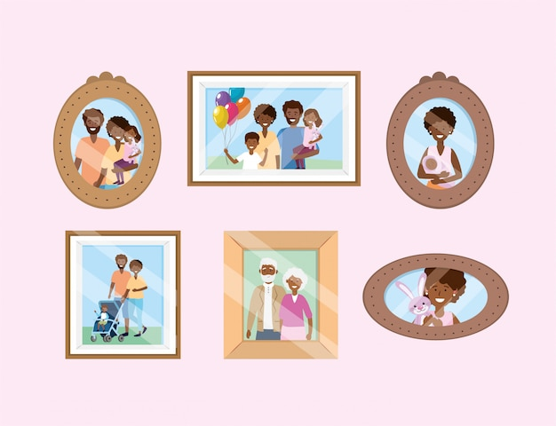 Set portait with family pictures memories Free Vector