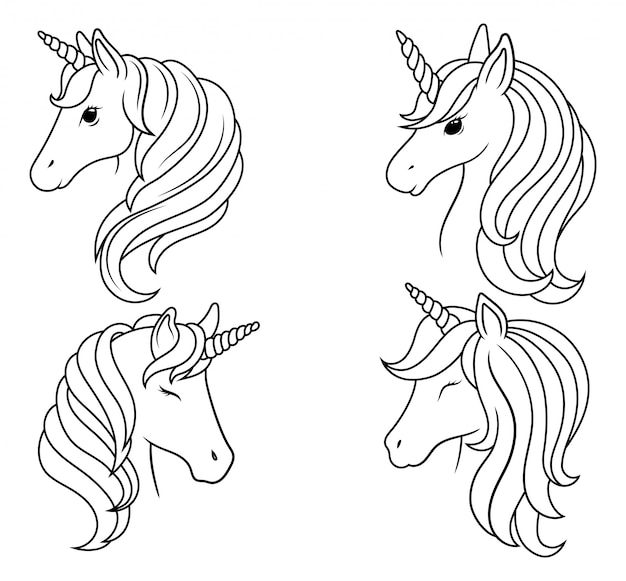 Set of portraits of unicorns. collection of silhouette head magic horse. Premium Vector
