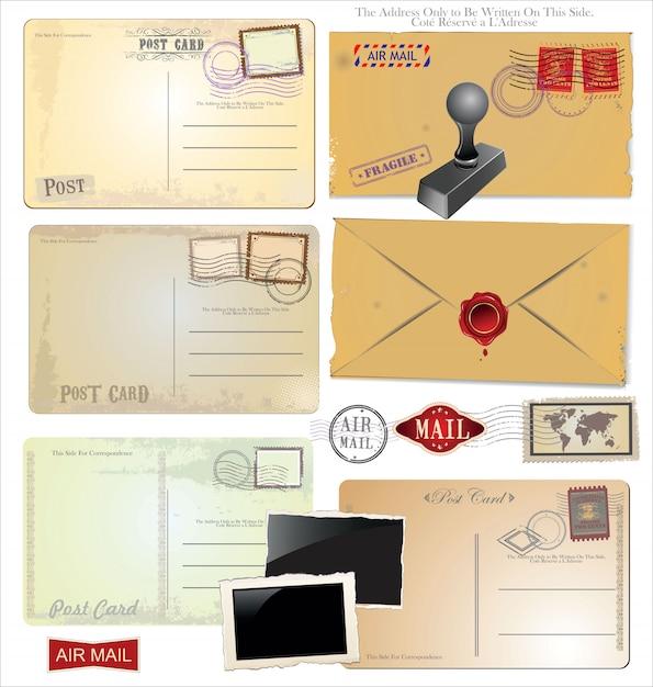 Set of postage elements Premium Vector