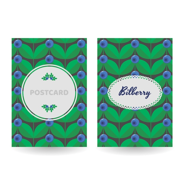 A set of postcards, posters, banners. floral blue forest summer berry Premium Vector