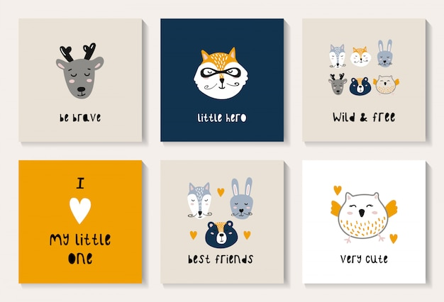 Premium Vector A Set Of Postcards With A Cute Forest Animals