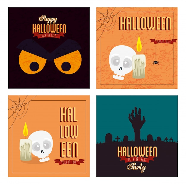 Set poster of happy halloween with decoration Free Vector