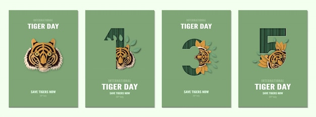 Set of poster for international tiger day, 29 july with number. Premium Vector