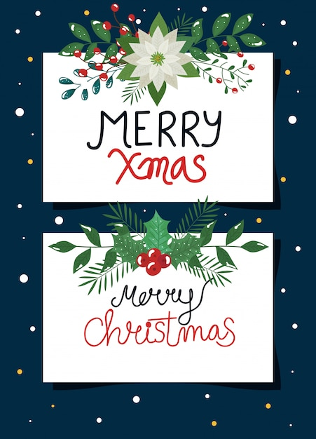 Set of poster of merry christmas with flowers and leafs Free Vector