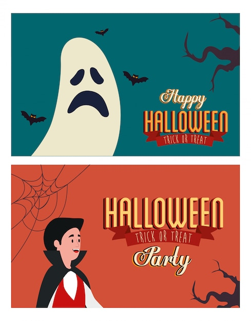 Set poster of party halloween with man disguised and ghost Free Vector