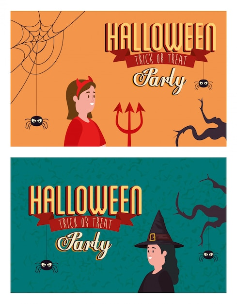 Set poster of party halloween with women disguised Free Vector