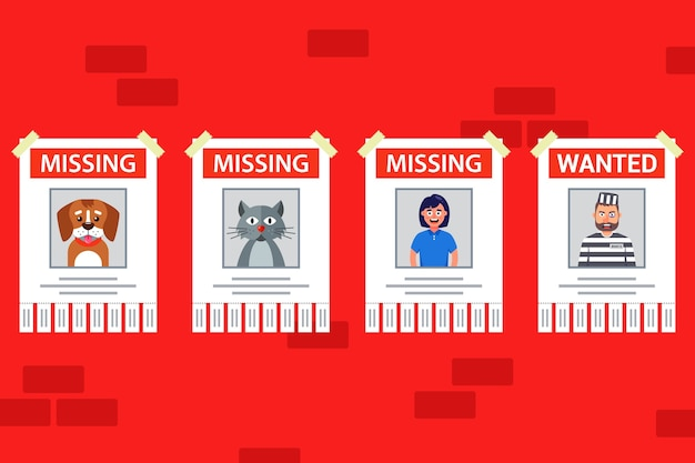 A set of posters for finding people and animals. lost pet poster. wanted person. Premium Vector