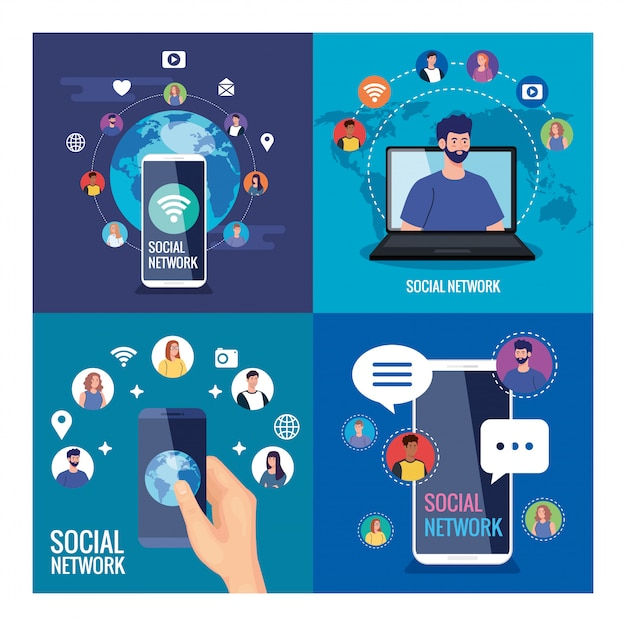 Set posters of social network, people connected digitally, interactive, communication and global concept Premium Vector