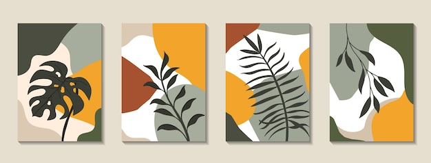 Set of posters with elements of tropical leaves and abstract shapes Premium Vector