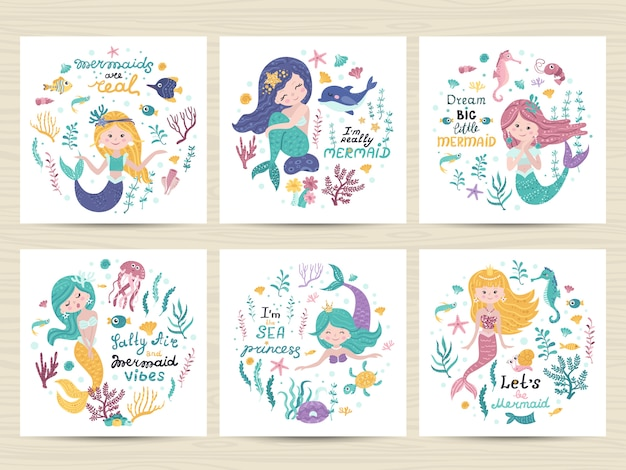 Set of posters with mermaid, sea animals and lettering Premium Vector