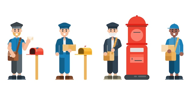 Set of postman characters. postman wearing uniform with mailbox. delivery service concept in flat design style. Premium Vector