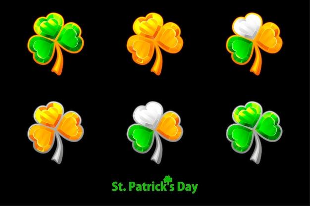 Set precious clover for st. patricks day on a black background. jewelry trefoil, shamrock symbols golden, green. Premium Vector