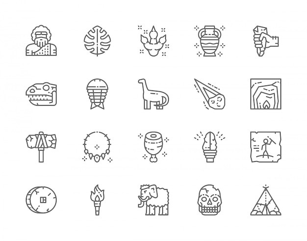 Set of prehistoric age line icons. tropical palm leaf, dinosaur, meteorite, primitive axe, torch flame, mammoth and more. Premium Vector