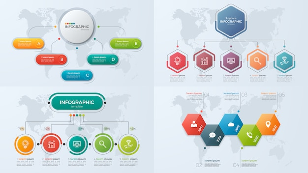 Set of presentation business infographic templates with 5 option Premium Vector