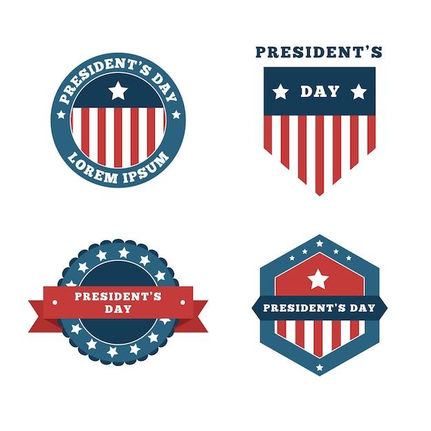 Set di badge del giorno del presidente Vettore gratuito