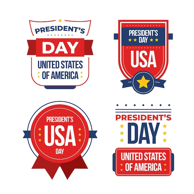 Set of president's day label Free Vector