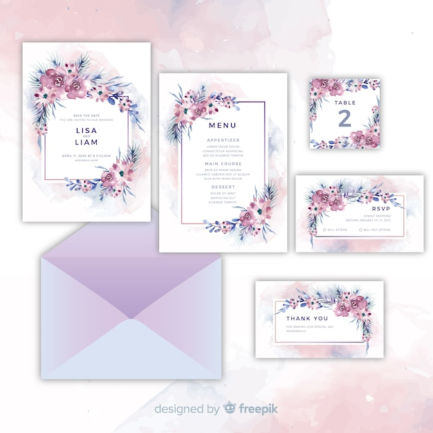 Set of pretty floral wedding invitations Free Vector