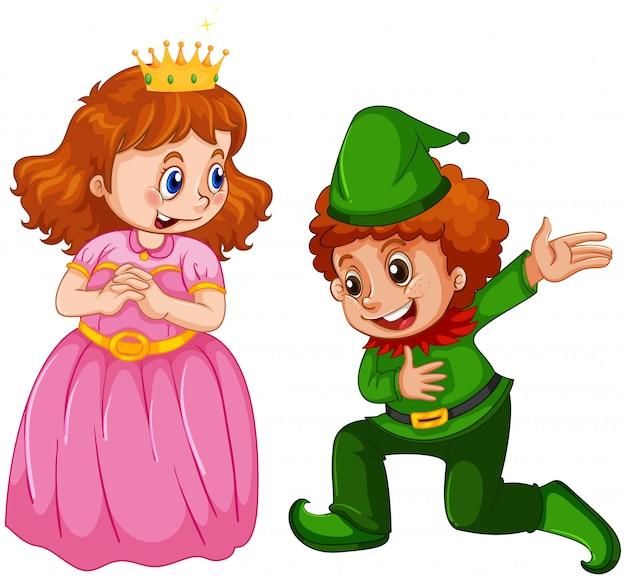 Set of prince and princess custome Free Vector