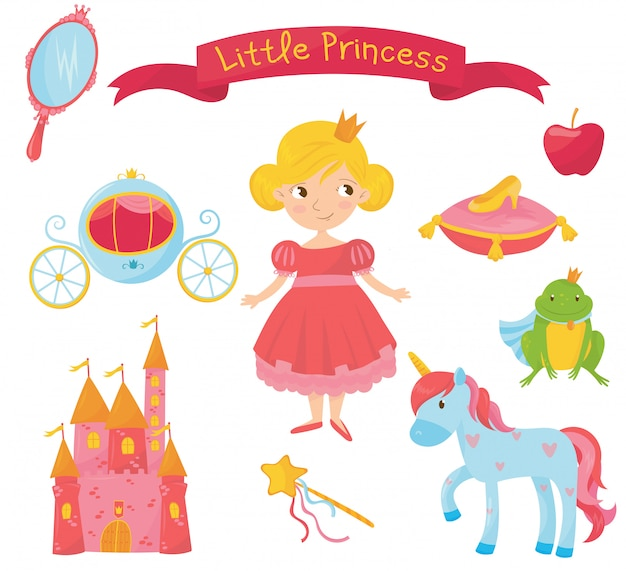 Set of princess items. girl in dress, handle mirror, carriage, apple, frog prince, shoe on pillow, castle, magic wand, unicorn. colorful flat   design Premium Vector