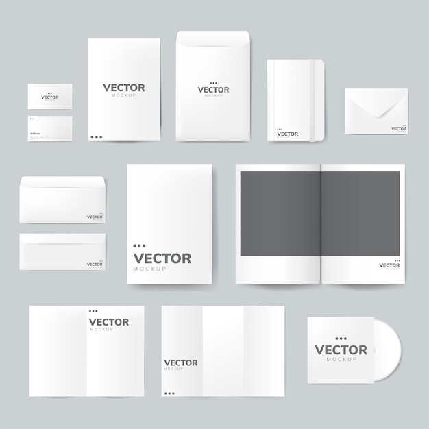 Set of printing material designs mockup vector Free Vector