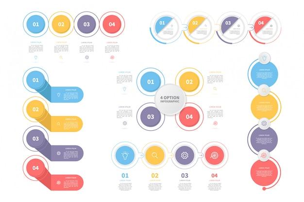 Set of process infographic template Premium Vector