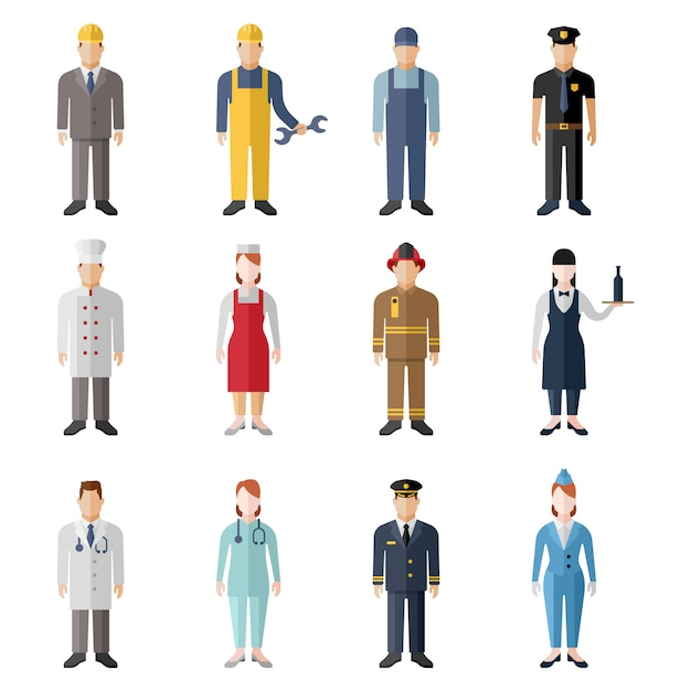 Set of profession characters isolated Premium Vector