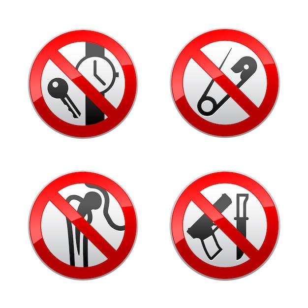 禁止標識の設定-金属探知機 Premiumベクター