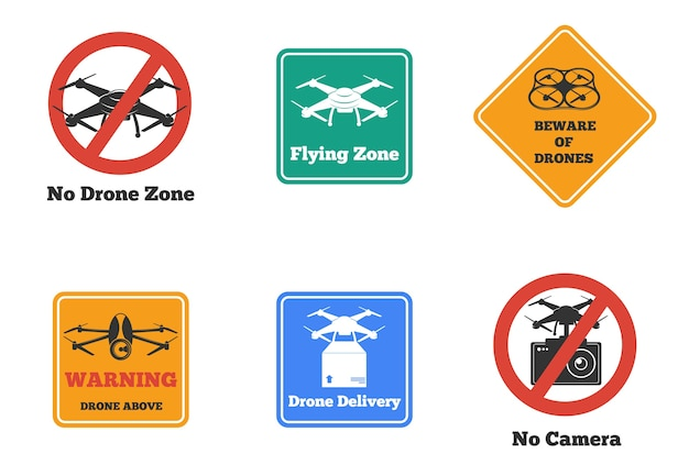 Set of prohibited and warning drone signs of various shape and color isolated Free Vector