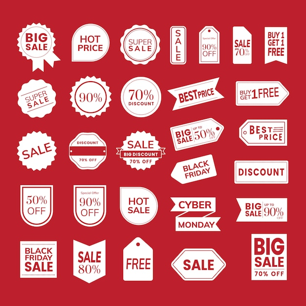 Set of promotion badge vectors Free Vector