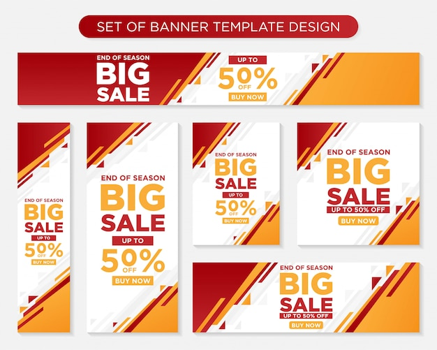 Set of promotion modern banner template Premium Vector