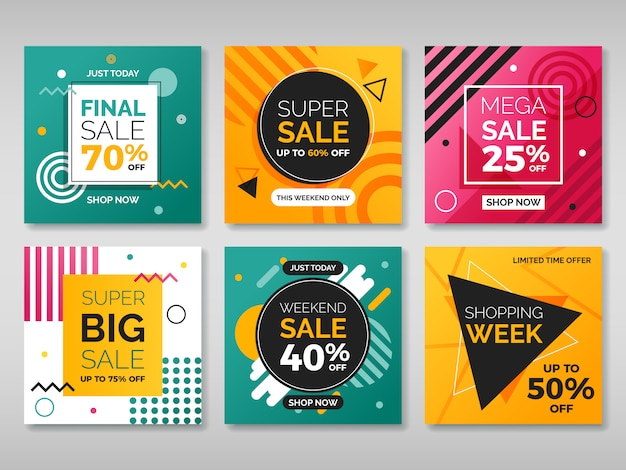Set of promotion square banners Premium Vector