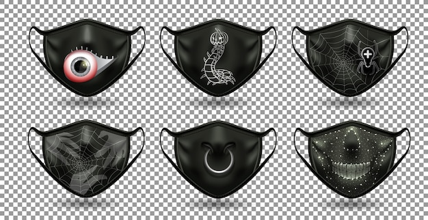A set of protective comic black masks. for the coronavirus party, halloween and other fun. Premium Vector