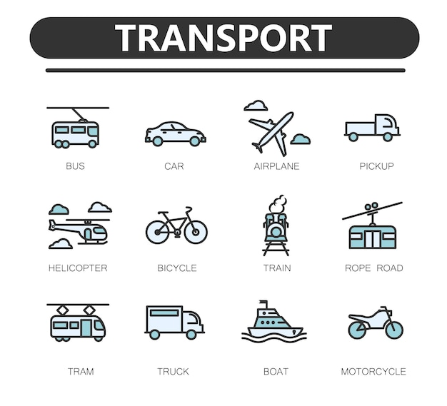 Set of public transport related line icons. Premium Vector
