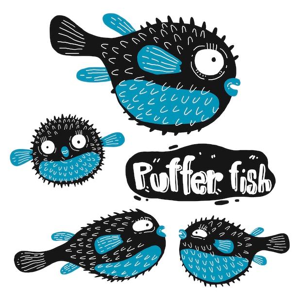 Set of puffer fish silhouette Premium Vector