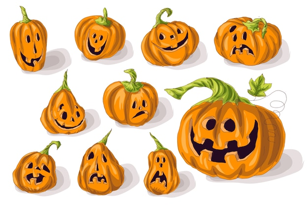 Set pumpkins for halloween Premium Vector