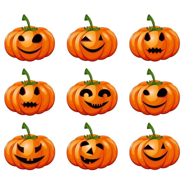 Set pumpkins for halloween. Premium Vector