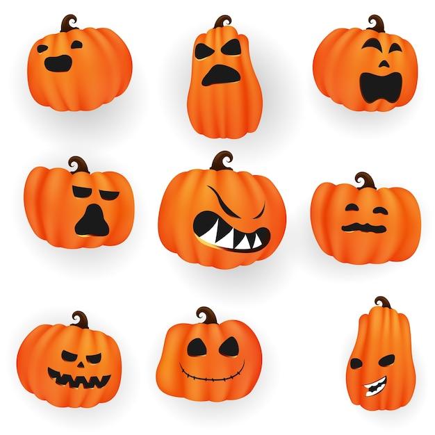 Набор тыкв из коллекции хэллоуин страшно и смешно Premium векторы