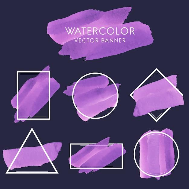 Set of purple watercolor banner design vector Free Vector