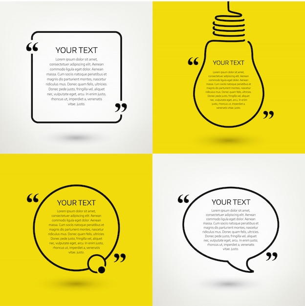Set of quote text frames. format Premium Vector