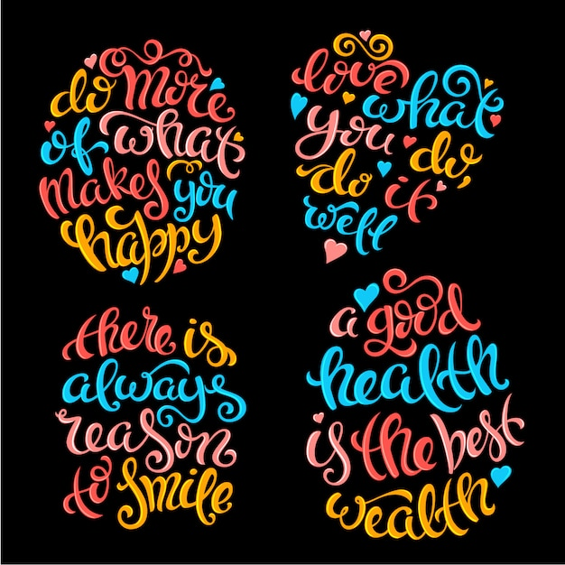 Set of quotes with lettering Premium Vector