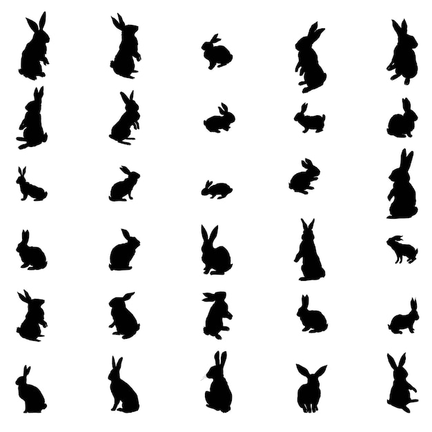 Установите силуэт кролика и зайца пасхи. иллюстрация Premium векторы