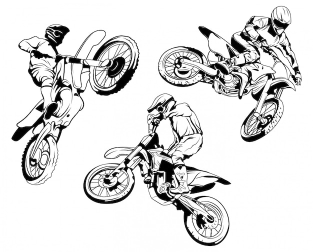 Set of racer motorbike. collection of silhouettes of riders on a motorcycle in different poses. Premium Vector
