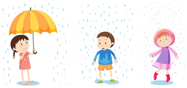 A set of rain protection Free Vector