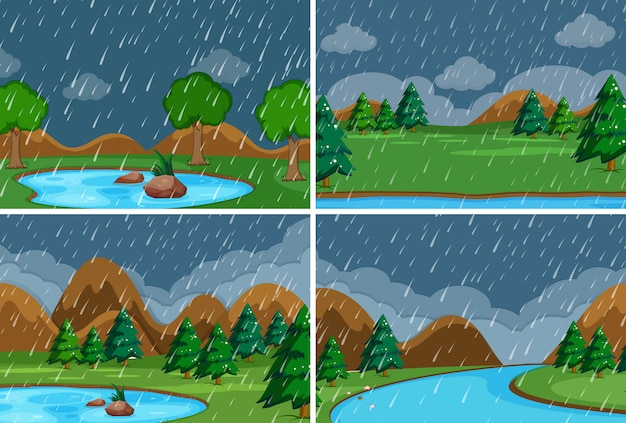 Set of raining in the park Free Vector
